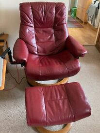3 Piece Dark Red Leather Ekornes by Stressless High Backed Suite with extras.