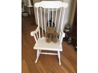 A SUPER SHABBY CHIC ROCKING CHAIR IDEAL FOR NURSERY WOULD ENHANCE ANY ROOM
