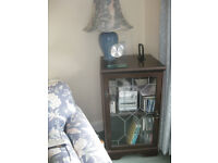 CD CABINET DARK WOOD WITH leaded glass front