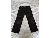 Black denim Kevlar motorcycle jeans, Red Route, Size 34 short