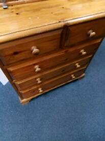 Sold pine Chest of drawers 3+2