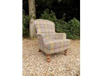 Beautiful Wool Tartan Tweed Fabric Armchair Accent Chair *2 Available*