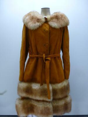 Vtg thick leather faux fur poodle belted longer winter swing Coat womens sz 6