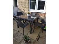 Lovely Rattan Table & 4 Chairs Garden Furniture - Nearly New