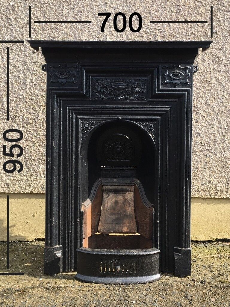 Small Black Antique Cast Iron Fireplace In Original Condition With All Pieces