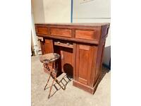 A vintage oak framed carpenters work bench by Melhuish and Sons Tool Makers, Fetter Lane London