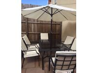 Garden furniture set with cushions & parasol -Argos barely used