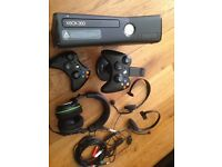 Xbox 360 console, controls chargers, headsets, cables. Excellent condition.