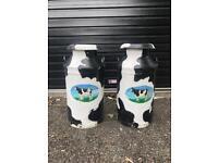 Two beautifully Hand painted aluminium milk churns