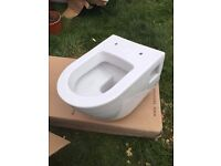 Wall hung toilet with wall mounting frame and cistern