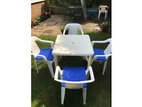 Garden Furniture with blue cushions
