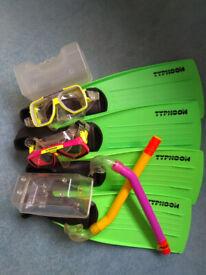 Two Snorkel Sets - adult shoe size 5-7 & 9-11