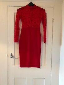 Quiz red lacy bodycon dress - size 10