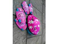 Girls safety cycle helmet elbow and knee protectors