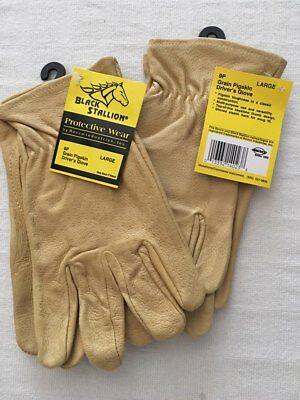 REVCO Black Stallion 9P Grain Pigskin Driver's Gloves, 2 Pairs, Large
