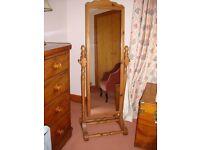 Vintage Pine cheval/swing mirror