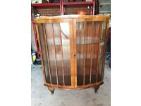 BEAUTIFUL ANTIQUE YEW WOOD DISPLAY CABINET