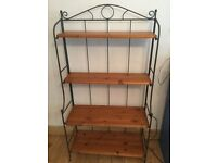 Metal frame bookcase / tv stand with wooden shelves