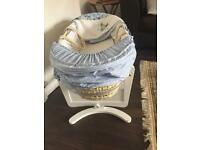 Mothercare Space Dreamer Moses Basket & Mothercare White Gliding Moses Basket Stand