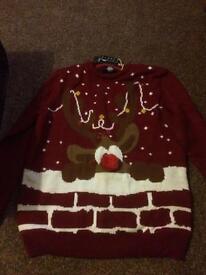L E D light Christmas jumper size L