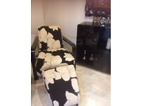 Chair and footstool from Keens Interiors - Black and cream