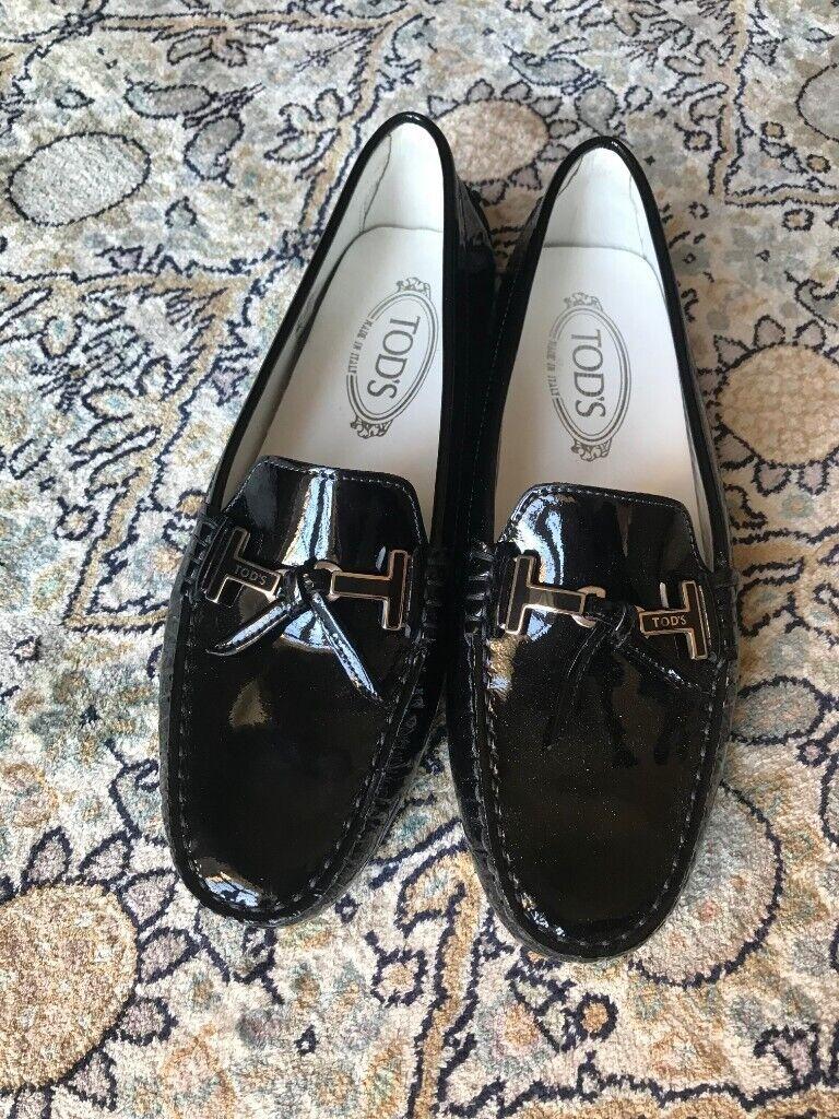 3cb1cb6892b Women s Black Patent Slip On Tod s Loafers - Size 5