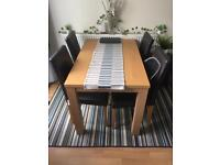 Dining set oak effect 4 chairs - Sw9 Stockwell - FLASH SALE