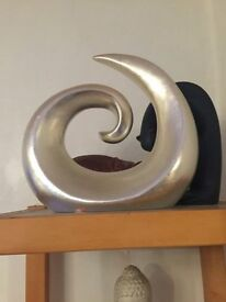 NEXT LARGE SILVER CERAMIC SWIRL