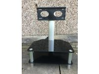 Black Glass Cantilever TV Stand 70cm