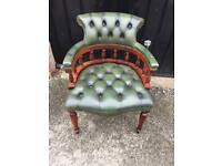Green chesterfield captains chair (delivery available)