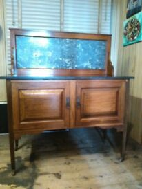 ANTIQUE WALNUT WASHSTAND WITH MARBLE TOP AND BACK