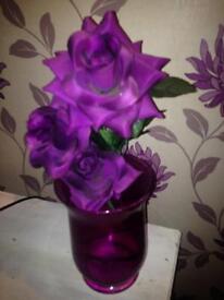 Vase and flower purple
