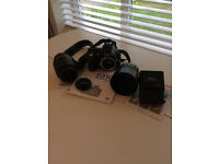 Nikon D3100 with two lenses, charger, manual and strap