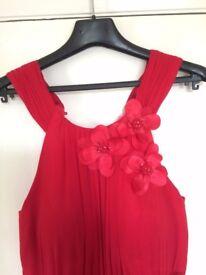 Beautiful Designer Long Chiffon Red Renata Party Prom Dress size 10 / 12