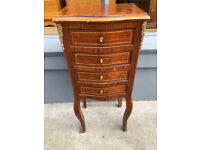 French Style Bedside / Small Chest of Drawers with brass mounts. Size L 14in D 11in H 32in.