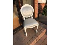 Silver Crushed Velvet White Louis Style French Shabby Chic Dressing Room Chair