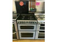 NEW WORLD SILVER 60CM WIDE DOUBLE OVEN FULL GAS COOKER WITH GLASS LID