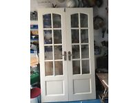 Pair of wooden glazed French doors,good condition sold