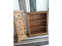 Mexican pine drawers unit and bookshelf