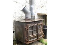 Large iron wood burning stove