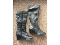 AS NEW black Leather Boots (barely worn) - size 5 1/2
