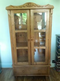 Beautiful handmade natural pine and glass display cabinet