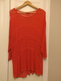 Next Orange Crochet Style Long Sleeved Top