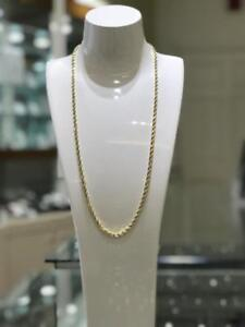14kt Solid Yellow Gold Diamond Cut Rope Chain 26 inches 4mm 33.6 gr.
