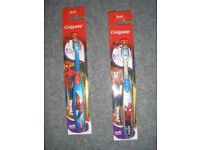 Two x Children's Manual Colgate Spiderman Toothbrushes. Brand New.