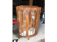 Vintage wooden bow fronted display cabinet (possibly walnut)