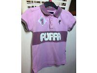 Girls purple/pink Puffa polo shirt size JL