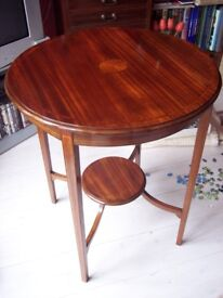 Victorian round table, mahogany inlaid coffee table occasional-hall-lamp-wine. Sheraton shade c.1900