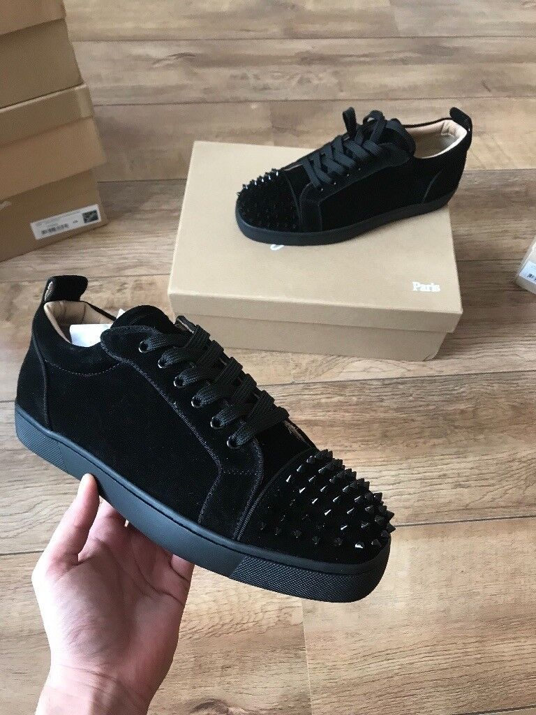 7e93a5fe2767 CHRISTIAN LOUBOUTIN MENS LOUIS JUNIOR SPIKES BLACK TRAINERS - VALENTINO -  BALENCIAGA - ZANOTTI