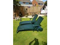 2 x Reclining chairs good condition, folds up for easy storage